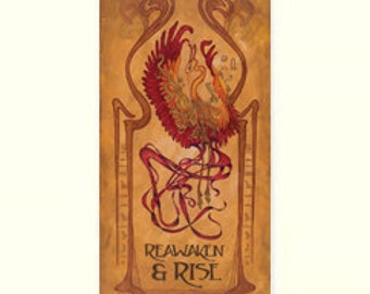 Art Nouveau Phoenix - Reawaken and Rise: Matted Giclée Art Print by The Bungalow Craft by Julie Leidel (Arts & Crafts Movement)
