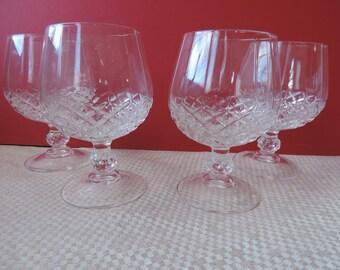 Four Lead Crystal Brandy Glasses Vintage