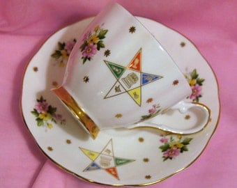 Vintage Symbolic Masonic Eastern Star Teacup & Saucer,Gold Stars,Colorful Flowers