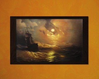 Ivan Aivazovsky Print Tempest on the sea at night 1849 - Printed On Textured Bamboo Paper Aizovsky Poster Housewarming Gift Idea Birthday
