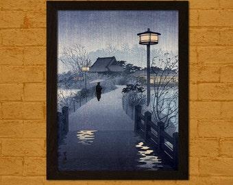 Evening Rain Yanaka Pagoda 1932 -  Shiro Kasamatsu Print Ukiyo-e Poster Japanese Prints Japanese Poster Birthday Gift Idea Kasamatsu Poster