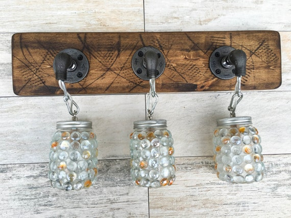 Rustic Industrial Modern Mason Jar Lights Vanity Light: Vanity Light Fixture 3 Mason Jar Gems Light Fixture By