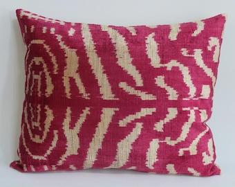 İkat Velvet Pillow Cover, 15.5'' x 20'' , Decorative Pillow, Handmade Silk Pillow, İkat Lumbar Pillow,  Shipping with Fedex 1-3 days