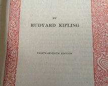 Antique poetry book - Rudyard Kipling - The seven seas - vintage Poems - Methuen - war poems - army poetry - bombay