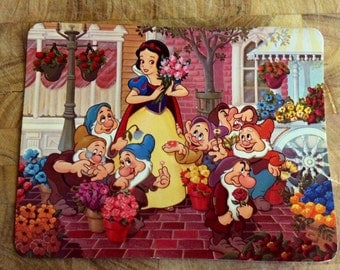 Snow white - seven dwarves - vintage disney postcard - 1970s disneyland - 1970s snow white card