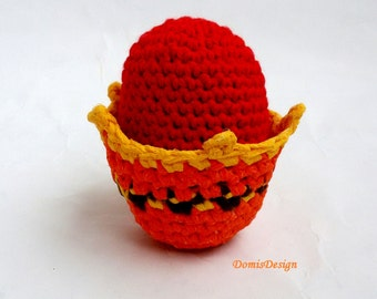 Easter basket with Easter egg Easter Decoration Basket in Orange Easter Egg in Red Ornaments in Brown and Yellow Gift Idea