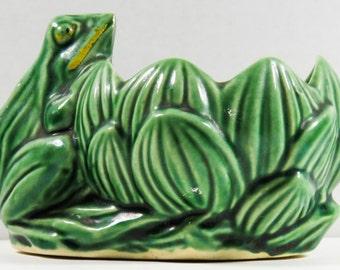 McCoy Pottery Green Frog Green Lotus Lily Pad Planter