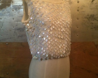 Vintage Sequin Sleeveless Sweater Vest