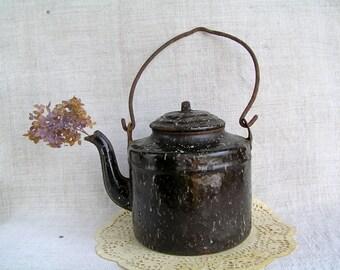 SAVE! 50% OFF Soviet Vintage Rusty Enamel Kettle / Old Metal Kettle / Rustic Decorations Primitive Antique / Cafe Kitchen Decor USSR 50s