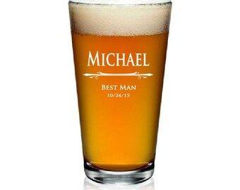 Personalized Pint Glasses 16oz - Great Groomsmen Gift - Choose Any Quantity - MADE to ORDER