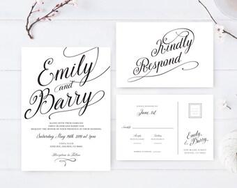 Simple wedding invitation sets printed on white premium paper / Affordable wedding invitation and rsvp postcard / Formal wedding invitations