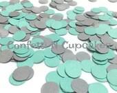 CONFETTI - grey and teal dot confetti - table decorations - baby shower - wedding invitation - party confetti - paper confetti - funfetti