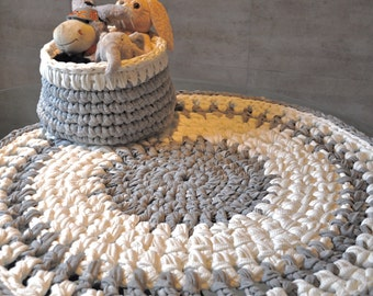 Crochet rug, round, trapillo grey/white, round rug, carpet