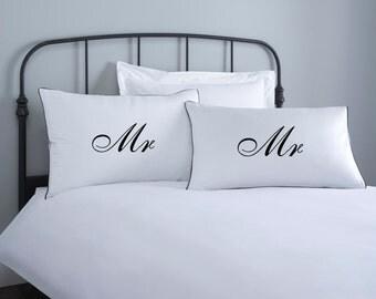 Mr & Mr Pillowcase set - 2 pillow covers - home wedding gift - engagement gift - anniversary gift - couple pillowcase - white pillowcase