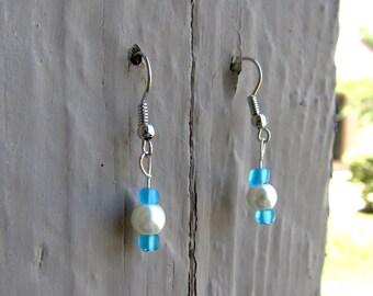 Blue & Pearl Earrings #2