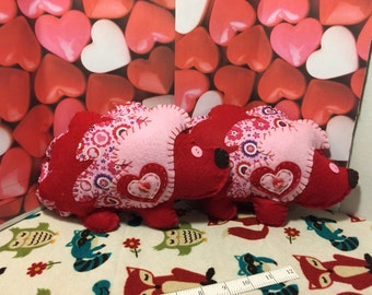 Red with pink Valentine Hedgehog