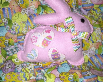 Pink Hand Stitched Felt Easter Bunny