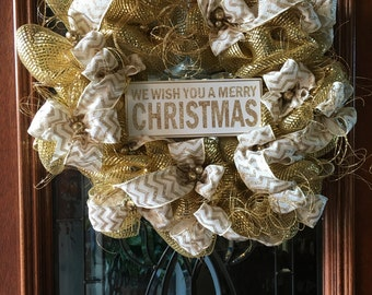 Beautiful Gold Merry Christmas Wreath