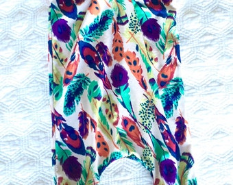 Baby girl, toddler, romper, Multicolor Feather Lennon Romper, all in one