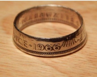1966 SIX PENCE Coin Ring - Hand Crafted  - Size L