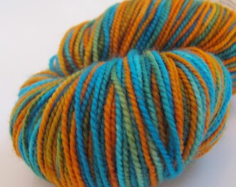 "Hand dyed sock yarn in ""Because...Turquoise and Orange!"" colorway"