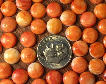 8mm Orange Spiny Oyster Shell Round Cabochon