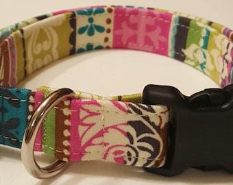 Dog collar, Damask multi print