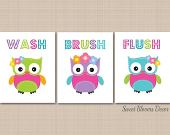 Owl Bathroom Wall Art,Owl Kids Bathroom Wall Art,Owl Bathroom Decor,Owl