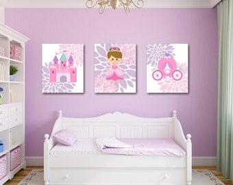 Bon Princess Wall Art,Pink Purple Princess Wall Art,Princess Wall Decor,Princess  Room