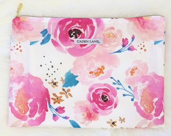 Mackenzie's Bright Pink Floral Zippered Wet Bag  | Pink, Blush, Watercolor, Floral Baby Girl Travel Bag