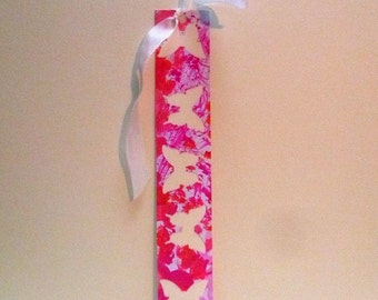Bookmark collage paper handpainted with pink and gold, with a White Ribbon.