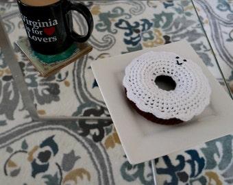Crocheted Amigurumi Chocolate Donut with Vanilla Icing