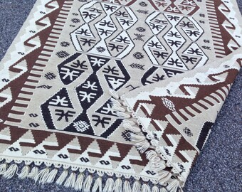 "SALE! Bohemian Kilim Rug Vintage Turkish Rug Kilim HandmadeWoven Natural Pure Wool Area Rug Throw Rug Tribal Oushak Rug Office Rug  4'8""x8'"