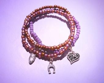 3 beaded friendship stretch bracelets  with charms