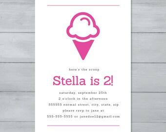 Ice Cream Cone Birthday Party Invitation  |  Ice Cream Invite  |  Ice Cream Birthday Invite