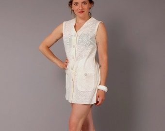 Vintage 70s Ivory Lace Mini Dress Beach Cover Up Tunic Top Vest S M