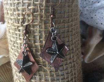 Handcrafted Earrings, Copper Earrings, Mixed Metals, Design with Silver Starfish