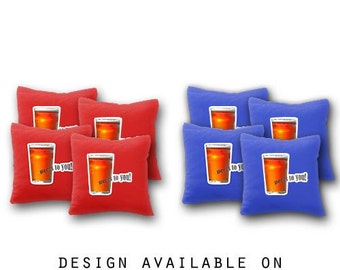 Beers to You Cornhole Bags Set of 8 - Homemade Quality Regulation Cornhole Bags - 17 Colors To Choose From - Bean Bag Toss - Cornhole Bags