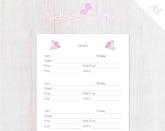 A5 Contacts insert Pastel Pink Flowers, address book for Filofax, planner address book, Filofax A5 insert, Kikki K inserts, dokibook inserts