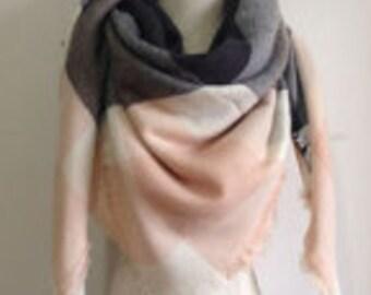 Light Pink n' Grey/Black Blanket Scarf