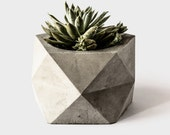 Large Concrete Geometric Planter 'PENTOID' for Succulent, Cactus + Bonsai Plant