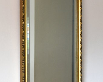 Vintage Ornate Wall Mirror Gold Coloured Frame Rectangle Bevelled Glass VGC