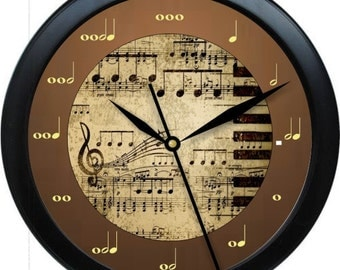 "Brown and Beige Music Notes Teacher Wall Clock 10"" Personalized Wall Clock Classroom Decor Teacher Appreciation Gift"
