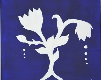 White Flowers on Dark Blue