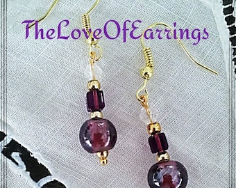 Lampwork purple earrings, crystal earrings, purple crystal earrings