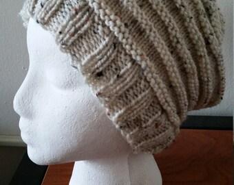 KCKnits Tan Ripple Hat