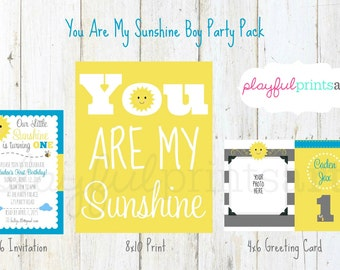 You Are My Sunshine Boy Party Pack, Digital Download, Printable, Jpeg
