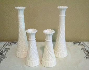 2 Pairs of White Milk Glass Vases