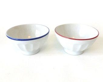 French Vintage Cafe au Lait Bowls / Vintage pair of Breakfast ceramic Bowls