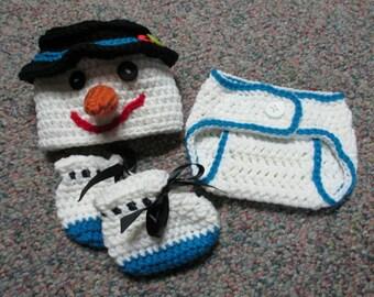 Crochet Snowman Hat & Diaper Cover Set